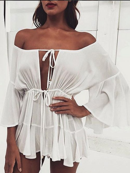 White Off Shoulder Tie Front Ruffle Sleeve Romper Playsuit