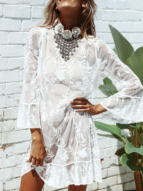 White Ruffle Trim Long Sleeve Chic Women Sheer Mesh Mini Dress