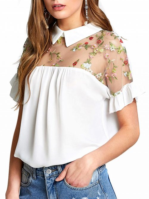 White Sheer Mesh Panel Embroidery Detail Blouse