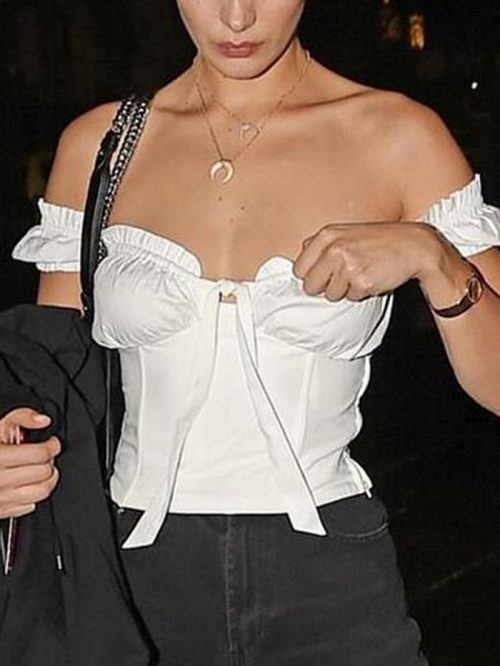 White Tie Front Frill Trim Blouse