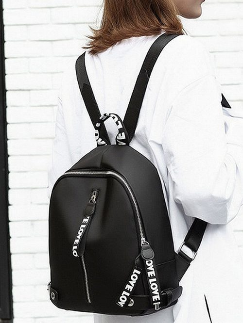 White Zip Detail Backpack