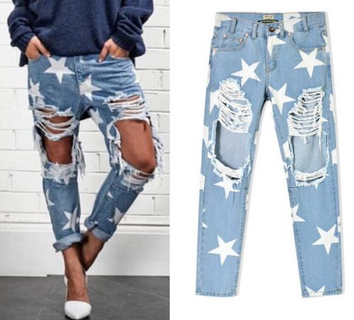 Wholesale- 2016 New arrival Europe & United States Women's Clothing Loose star stamp hole baggy jeans Ms fashion personality denim pants
