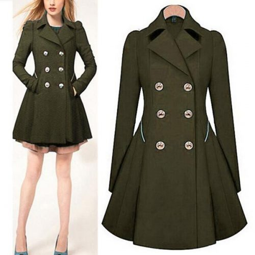 Wholesale- 2017 Autumn New Plus Size Womens Coat Commuter Office OL Slim Fashion Ruffles Windbreaker Double Breasted Trench Q1536