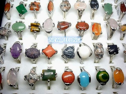 Wholesale Bulk 30pcs/lot Assorted Natural Stone Rings Multi-Design &Mixed sizes for Women Fashion Jewelry Rings
