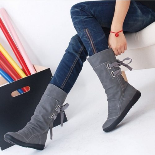 Wholesale-Elegant New Fashion Women Autumn Winter Boots Mid-Calf Solid Flat With PU Boots Warm Fur Inside Ladies Shoes Big Size 34-43