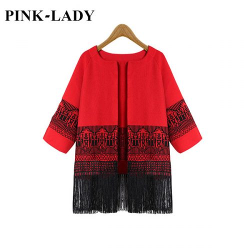 Wholesale- Female Autumn Clothing 3/4 Sleeve Jacquard Weave Fringe Sweaters Cardigans For Women Knitted Jacket Coat Outerwear Fashion Tops