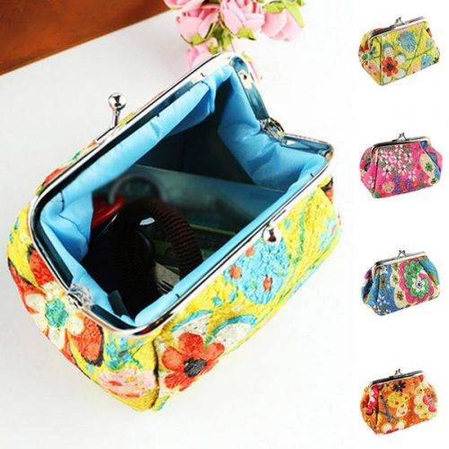 Wholesale- Hot Sale Fashion Cute Embroidered Case Wallet Card Keys Pouch Coin Purse Vintage Flower Bags For Women