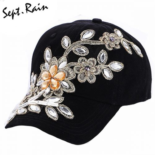 Wholesale- [Sept.Rain] The most 2017 New Fashion Adjustable Women Diamond Flower Baseball Cap Summer Style Lady Jeans Hats