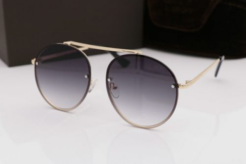 Women 0571 shiny rose gold/grey shaded Round Sunglasses Fashion Brand GAFAS DE SOL SONNENBRILLE with Case box