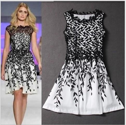 Womens clothing ladies fitted slim lace Embroidery leaf print plus big size S-XXXL dress Formal Prom Cocktail Ball Evening Party Dress 9608