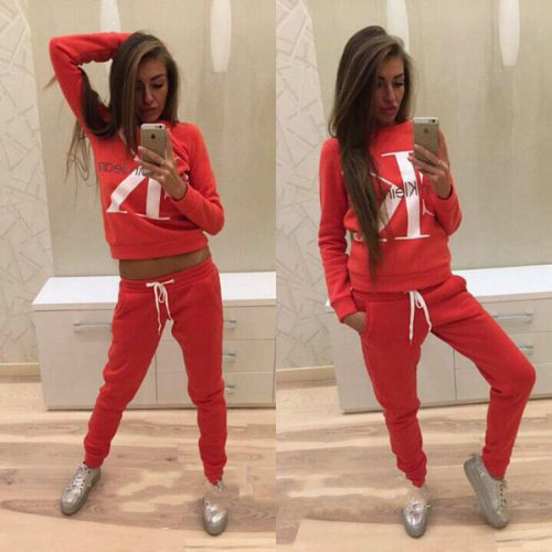 Women's pants suit 2018 Spring Letter Printing Fashion Leisure Time Sweater Suit Woman