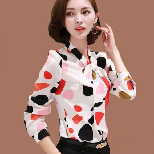 Work Wear Office Shirt Women Tops Floral Bow Pattern Geometric Print Chiffon Blouses And Shirts Women Clothing Chemise Femme