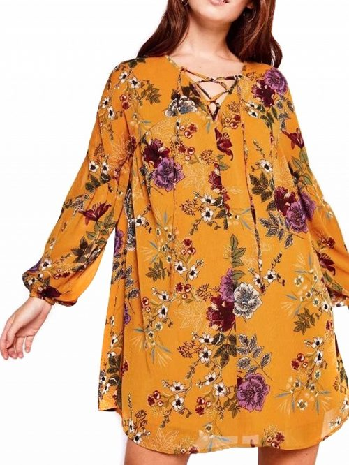 Yellow Lace Up Front Floral Flare Sleeve Mini Dress