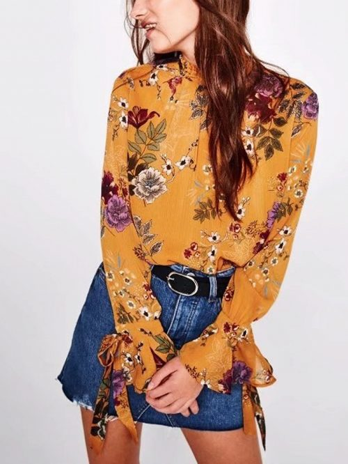 Yellow Lace Up Front Floral Flared Sleeve Blouse