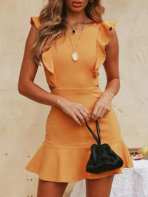 Yellow Ruffle Trim Open Back Sleeveless Chic Women Mini Dress