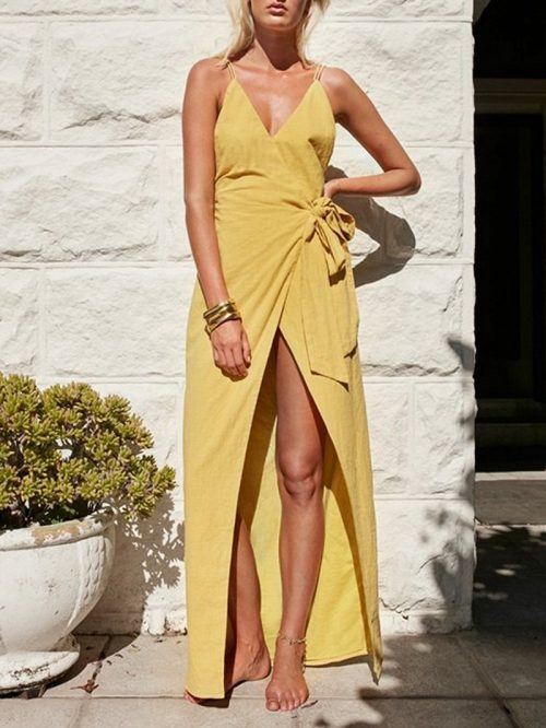 Yellow V-neck Spaghetti Strap Backless Tie Side Maxi Wrap Dress
