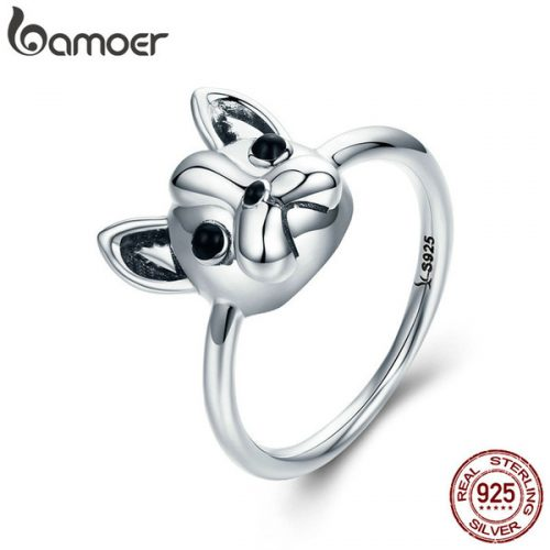 whole saleBAMOER Hot Sale 100% 925 Sterling Silver Loyal Partners French Bulldog Dog Animal Female Ring for Women Fashion Jewelry SCR261