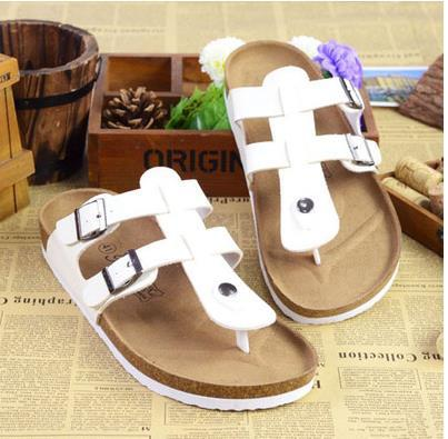 2017 New Summer Designer Women Sandals Lovers PU Leather Corks Sole Beach Slippers Sandals For Women Fashion Couple Clogs Flip Flops Shoes