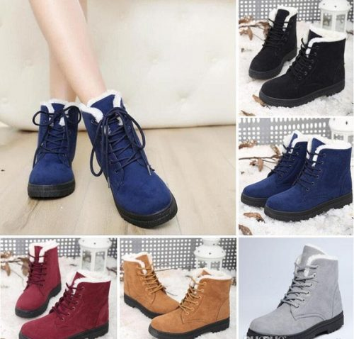 2018 New Womens Winter Warm Casual Faux Suede Fur Lace-up Ankle Boots snow boots women Fashion Boots US Size4.5-10