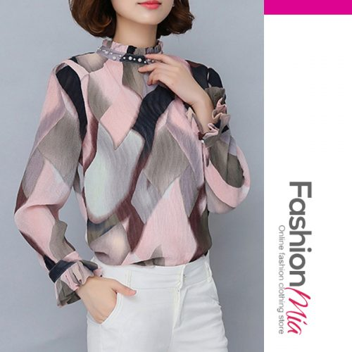 Autumn Chiffon Women Band Collar Beading Color Block Long Sleeve Blouses