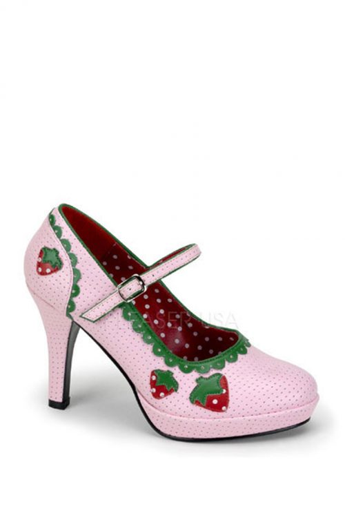 Baby Pink Strawberry Maryjane Heels Faux Leather