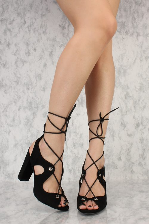 Black Ankle Lace Tie Detail Peep Toe Single Sole Chunky Heels Suede
