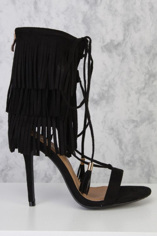 Black Ankle Strap Layer Fringe Lace Up Tassel Accent High Heels Faux Suede