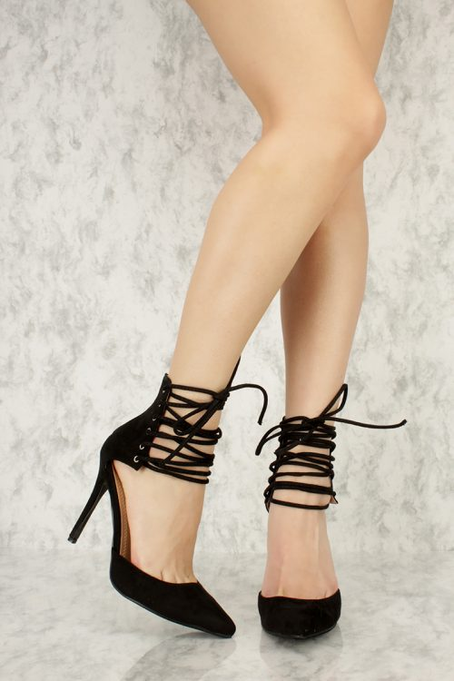 Black Ankle Strappy Brace Detailing Pointy Toe Single Sole High Heel Faux Suede