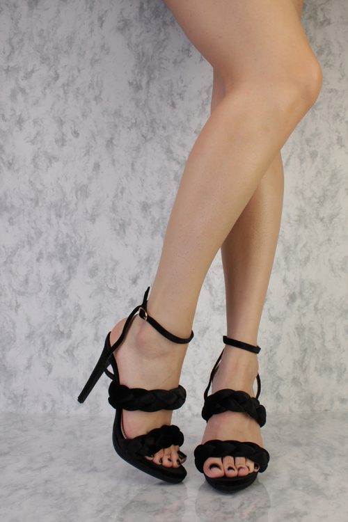 Black Braided Buckled Ankle Strap Open Toe Single Sole High Heel