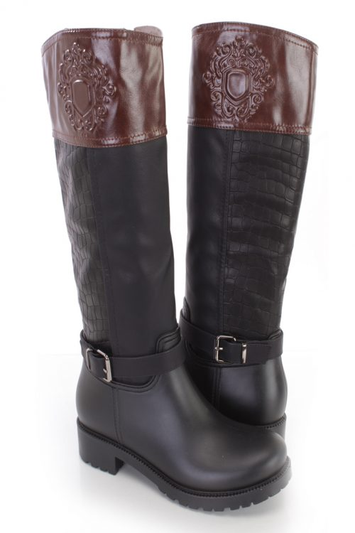Black Brown Croc Skin Textured Riding Boots Faux Leather