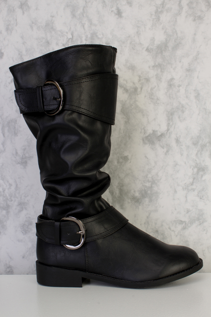 Black Buckle Accent Mid Calf Boots Faux Leather