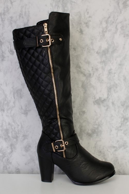 Black Buckle Accent Stitched Quilted Boots Faux Leather