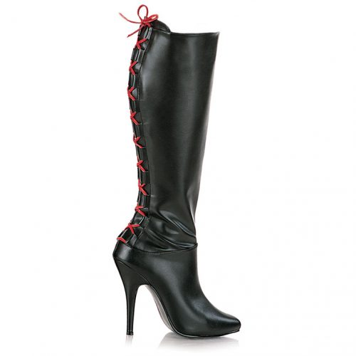 Black Corset Back Knee High Boots Faux Leather