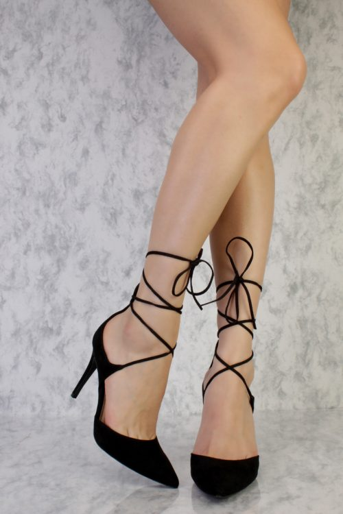 Black Criss Cross Ankle Lace Up Single Sole High Heel Suede