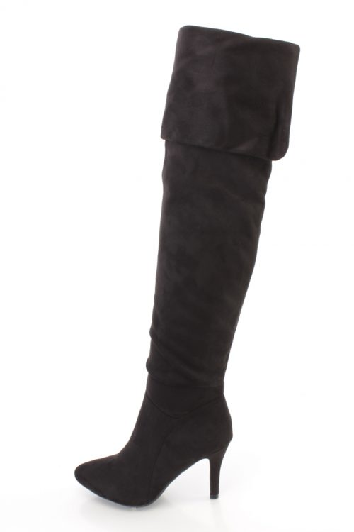 Black Cuffed Thigh High Heel Boots Faux Suede