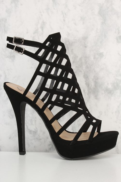 Black Cut Out Detail Open Toe Single Sole Platform Pump High Heel Nubuck