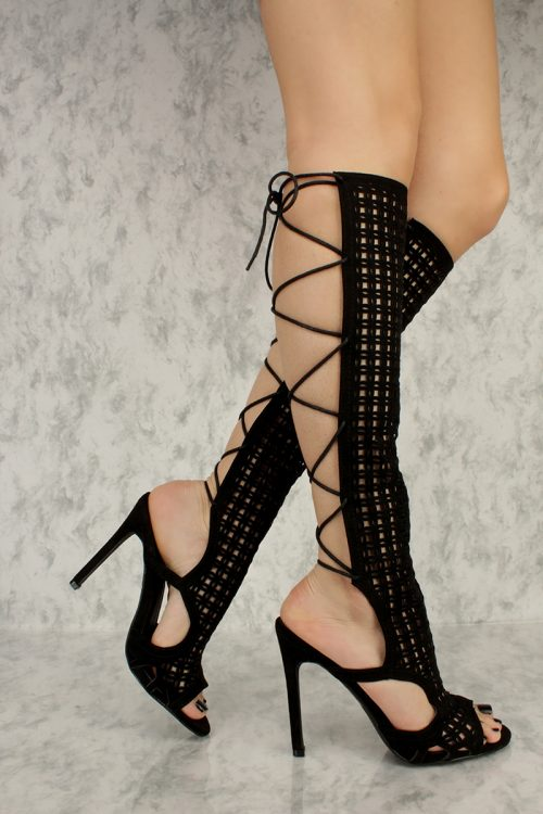 Black Detailed Cut Out Open Back Lace Up Peep Toe Single Sole High Heel Boots Suede