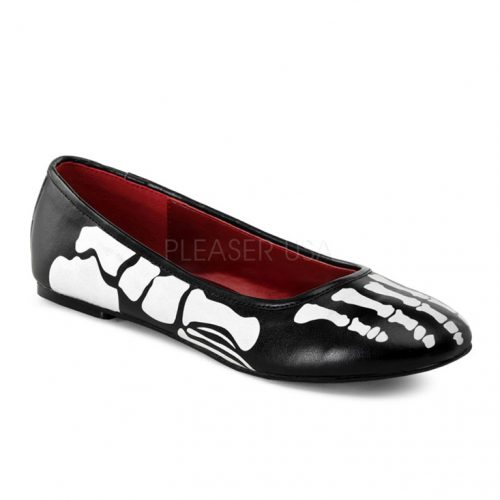Black Faux Leather Skeleton Flats