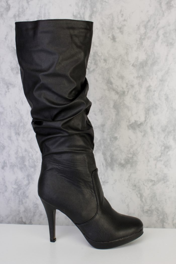 Black Faux Leather Slouchy AMIclubwear Platform Boots