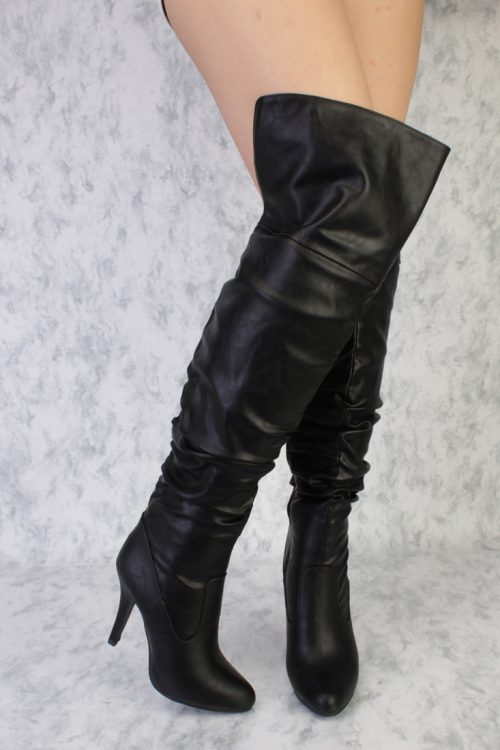 Black Faux Leather Thigh High Boots