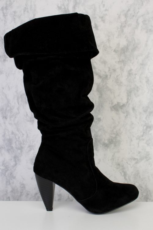 Black Faux Suede Scrunch Ruched Wood Wrap Heel Calf High Boot