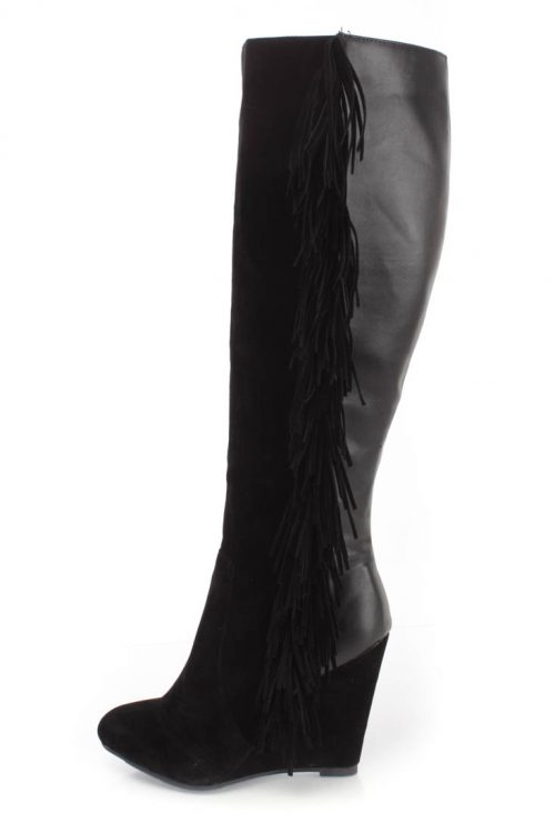 Black Fringe Detail Wedge Knee High Boots Faux Suede
