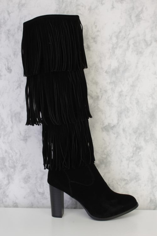 Black Fringe Round Pointy Toe Knee Length Chunky High Heel Boots Faux Suede