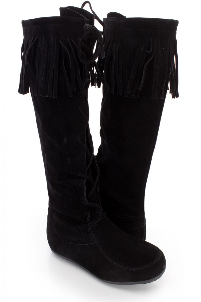 Black Fringe Trim Lace Up Moccasin Boots Faux Suede