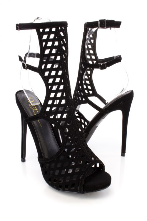 Black Front Diamond Side Round Cut Out Detailing High Heel Nubuck