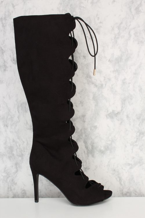 Black Front Lace Up Peep Toe Single Sole High Heel Boots Suede