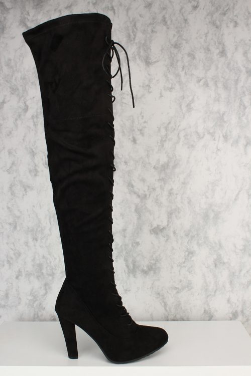 Black Front Lace Up Round Pointy Toe Single Sole Thigh High Heel Boots Faux Suede
