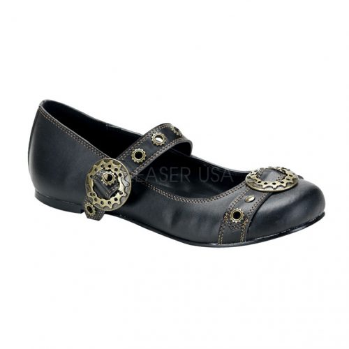 Black Gear Buckle Maryjane Flats Faux Leather