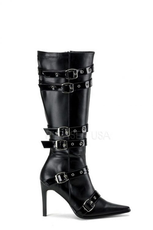 Black Grommet Buckled Strappy Boots Faux Leather