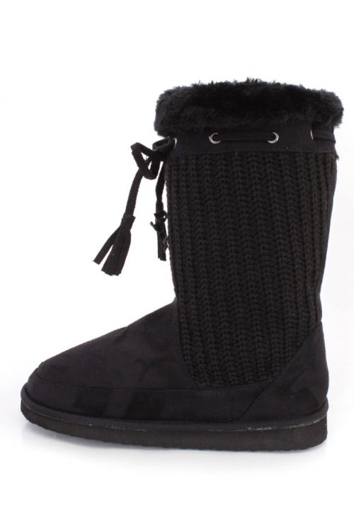 Black Knitted Tassel Draw String Flat Boots Faux Suede